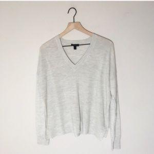 NWOT J. crew Basic Loose Fit Grey V Neck Sweater